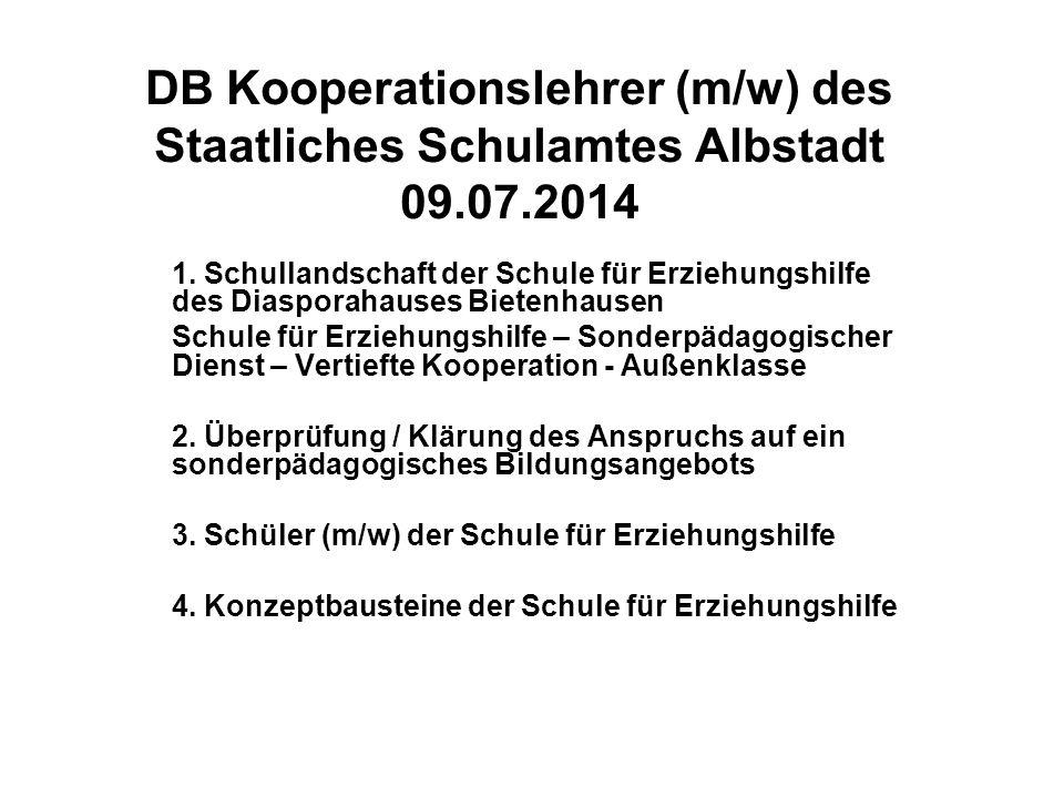 DB Kooperationslehrer (m/w) des Staatliches Schulamtes Albstadt 09.07.2014 1. Schullandschaft der Schule für Erziehungshilfe des Diasporahauses Bieten