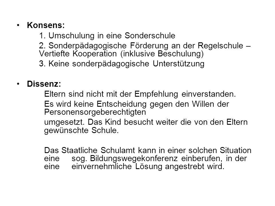 Konsens: 1. Umschulung in eine Sonderschule 2. Sonderpädagogische Förderung an der Regelschule – Vertiefte Kooperation (inklusive Beschulung) 3. Keine