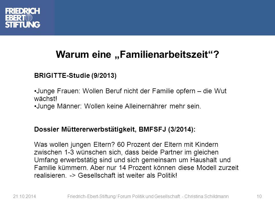 """Warum eine """"Familienarbeitszeit""""? BRIGITTE-Studie (9/2013) Junge Frauen: Wollen Beruf nicht der Familie opfern – die Wut wächst! Junge Männer: Wollen"""