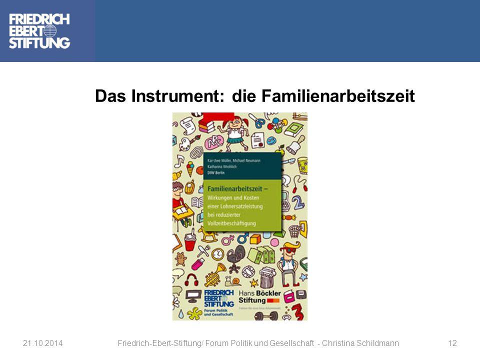 Das Instrument: die Familienarbeitszeit 21.10.2014Friedrich-Ebert-Stiftung/ Forum Politik und Gesellschaft - Christina Schildmann12