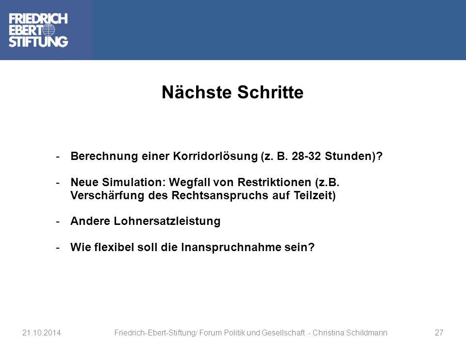 Nächste Schritte -Berechnung einer Korridorlösung (z. B. 28-32 Stunden)? -Neue Simulation: Wegfall von Restriktionen (z.B. Verschärfung des Rechtsansp