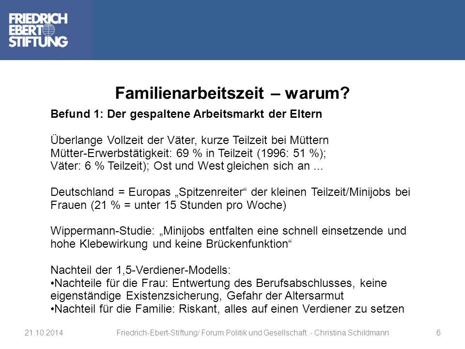 Befund 1: Der gespaltene Arbeitsmarkt der Eltern Überlange Vollzeit der Väter, kurze Teilzeit bei Müttern Mütter-Erwerbstätigkeit: 69 % in Teilzeit (1