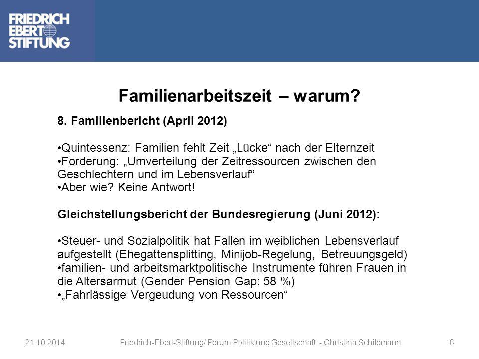 """8. Familienbericht (April 2012) Quintessenz: Familien fehlt Zeit """"Lücke"""" nach der Elternzeit Forderung: """"Umverteilung der Zeitressourcen zwischen den"""
