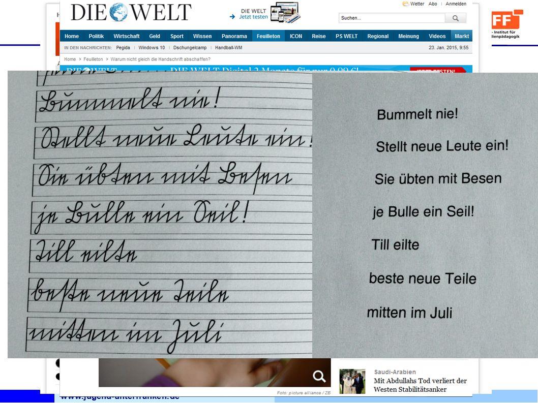 www.jugend-unterfranken.de Bezirksjugendring Unterfranken Medienfachberatung 1915 als Standard in Schulen eingeführt 1941 lateinische Buchstaben eingeführt