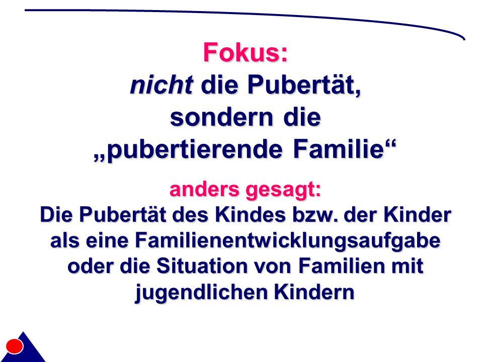 "Fokus: nicht die Pubertät, sondern die ""pubertierende Familie anders gesagt: Die Pubertät des Kindes bzw."
