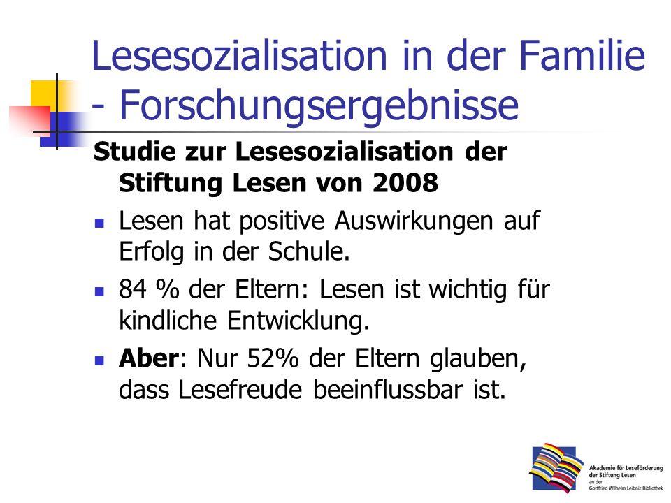 Lesesozialisation in der Familie - Forschungsergebnisse Studie zur Lesesozialisation der Stiftung Lesen von 2008 Lesen hat positive Auswirkungen auf Erfolg in der Schule.