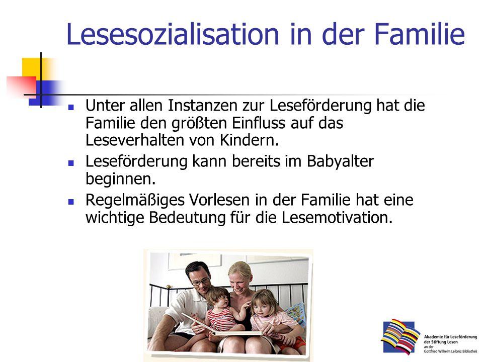 Lesesozialisation in der Familie Unter allen Instanzen zur Leseförderung hat die Familie den größten Einfluss auf das Leseverhalten von Kindern.