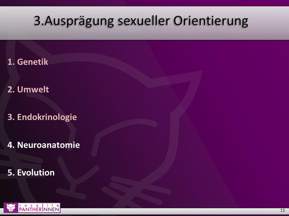 3.Ausprägung sexueller Orientierung 1. Genetik 2.