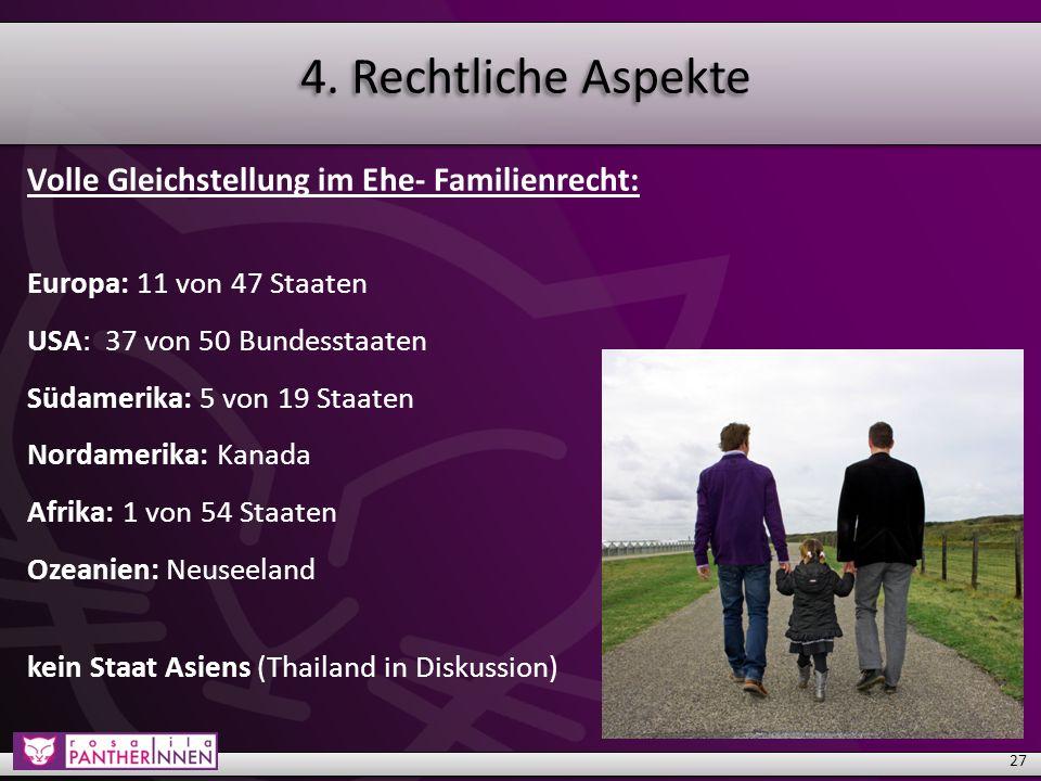 4.Rechtliche Aspekte Teilweise Gleichstellung im Familienrecht: u.a.