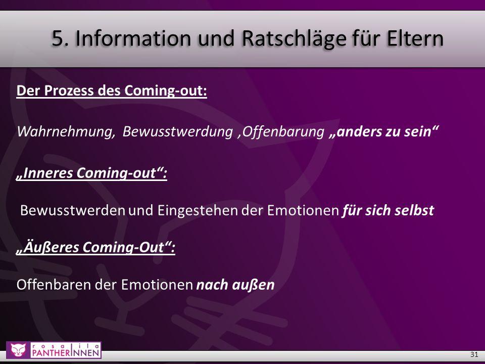 """Der Prozess des Coming-out: Wahrnehmung, Bewusstwerdung,Offenbarung """"anders zu sein """"Inneres Coming-out : Bewusstwerden und Eingestehen der Emotionen für sich selbst """"Äußeres Coming-Out : Offenbaren der Emotionen nach außen 31"""