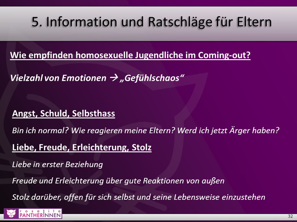 5. Information und Ratschläge für Eltern Wie empfinden homosexuelle Jugendliche im Coming-out.
