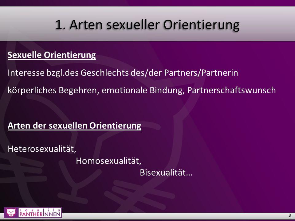 """1.Arten sexueller Orientierung Heterosexualität: 80-90 % der Weltbevölkerung Homo- und Bisexualität: 10-20% der Weltbevölkerung Heteronormativität: Heterosexualität als """"gesellschaftliche Norm  Vorannahme und Erwartungshaltung 9"""