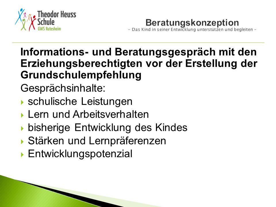 Informations- und Beratungsgespräch mit den Erziehungsberechtigten vor der Erstellung der Grundschulempfehlung Gesprächsinhalte:  schulische Leistung
