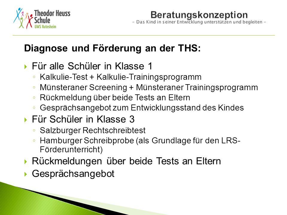 Diagnose und Förderung an der THS:  Für alle Schüler in Klasse 1 ◦ Kalkulie-Test + Kalkulie-Trainingsprogramm ◦ Münsteraner Screening + Münsteraner T