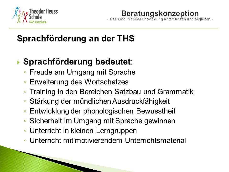 Sprachförderung an der THS  Sprachförderung bedeutet: ◦ Freude am Umgang mit Sprache ◦ Erweiterung des Wortschatzes ◦ Training in den Bereichen Satzb