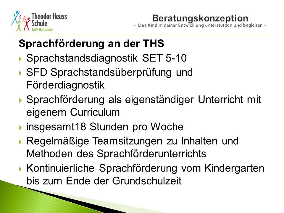 Sprachförderung an der THS  Sprachstandsdiagnostik SET 5-10  SFD Sprachstandsüberprüfung und Förderdiagnostik  Sprachförderung als eigenständiger U