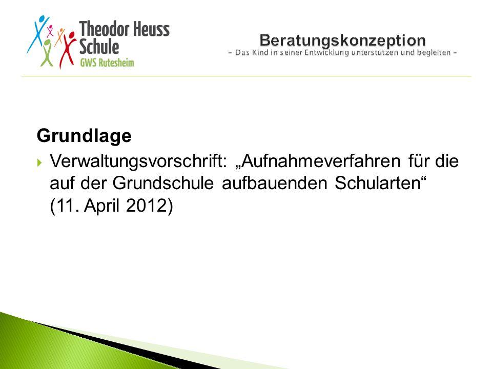 """Grundlage  Verwaltungsvorschrift: """"Aufnahmeverfahren für die auf der Grundschule aufbauenden Schularten"""" (11. April 2012)"""