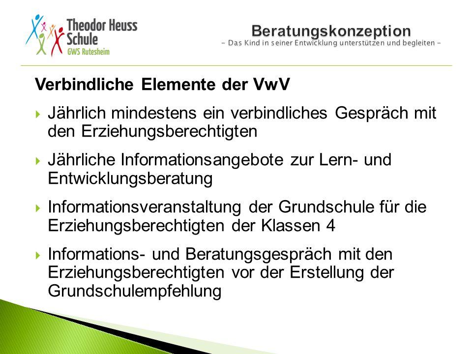 Verbindliche Elemente der VwV  Jährlich mindestens ein verbindliches Gespräch mit den Erziehungsberechtigten  Jährliche Informationsangebote zur Ler