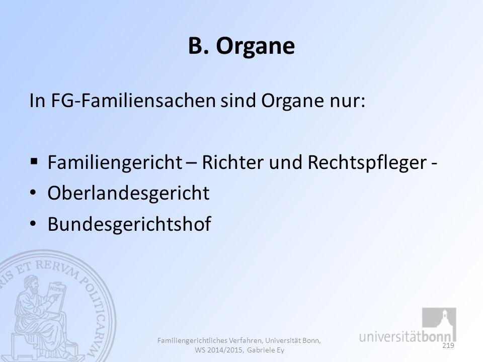 B. Organe In FG-Familiensachen sind Organe nur:  Familiengericht – Richter und Rechtspfleger - Oberlandesgericht Bundesgerichtshof Familiengerichtlic