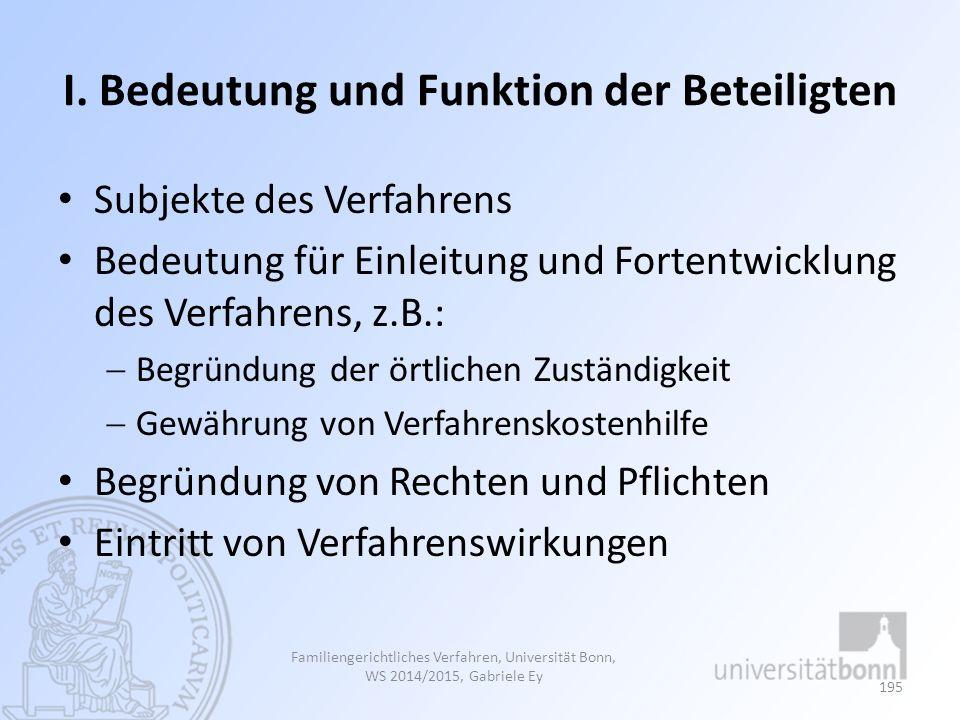 I. Bedeutung und Funktion der Beteiligten Subjekte des Verfahrens Bedeutung für Einleitung und Fortentwicklung des Verfahrens, z.B.:  Begründung der