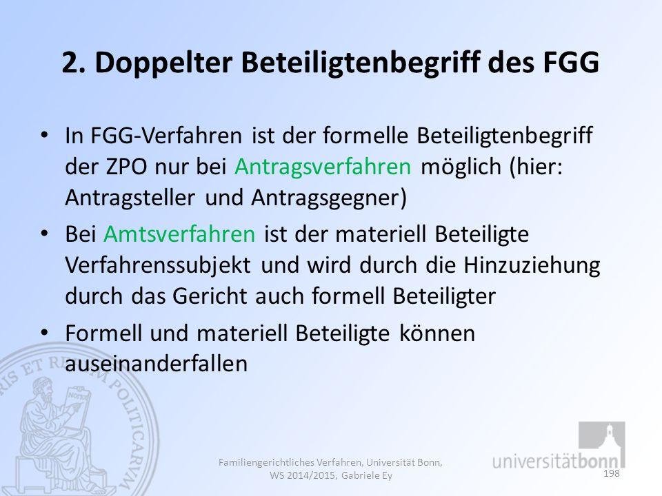2. Doppelter Beteiligtenbegriff des FGG In FGG-Verfahren ist der formelle Beteiligtenbegriff der ZPO nur bei Antragsverfahren möglich (hier: Antragste