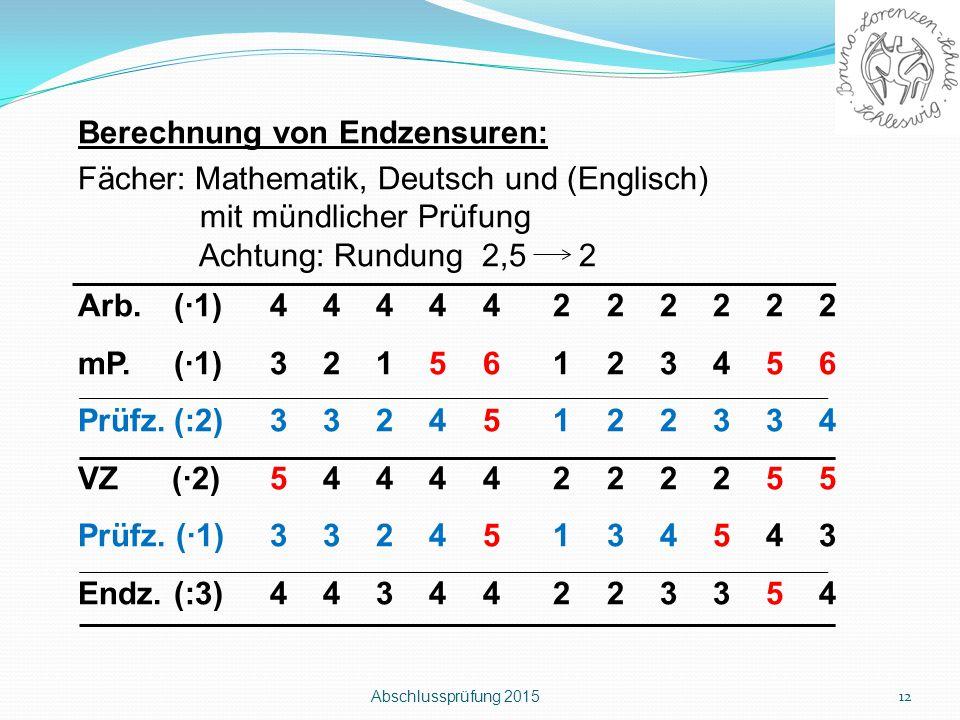 Abschlussprüfung 2015 12 Berechnung von Endzensuren: Fächer: Mathematik, Deutsch und (Englisch) mit mündlicher Prüfung Achtung: Rundung 2,5 2 Arb.(∙1)