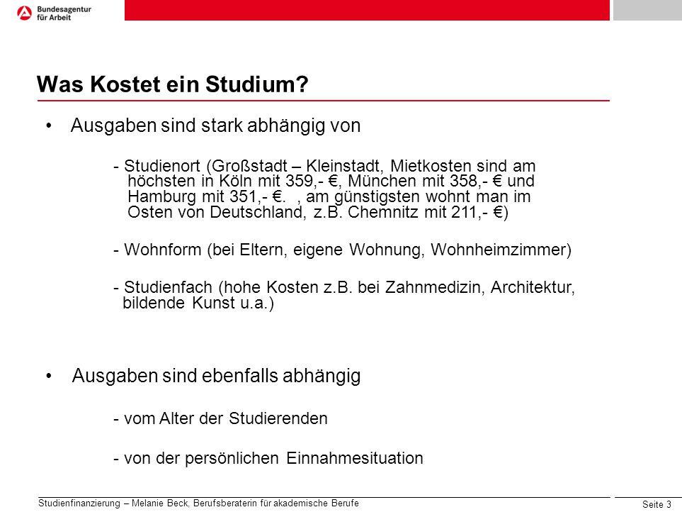 Seite 14 Studienfinanzierung – Melanie Beck, Berufsberaterin für akademische Berufe Infoquellen Online Studentenwerke: www.studentenwerke.dewww.studentenwerke.de BAföG: www.das-neue-bafoeg.de, www.bafoeg-aktuell.de (mit Rechner)www.das-neue-bafoeg.dewww.bafoeg-aktuell.de Begabtenförderung: www.stipendiumplus.de, www.stiftungen.orgwww.stipendiumplus.dewww.stiftungen.org Deutschlandstipendium: www.deutschlandstipendium.dewww.deutschlandstipendium.de Stipendiendatenbank: www.stipendienlotse.de, www.stiftungsindex.dewww.stipendienlotse.dewww.stiftungsindex.de Bildungskredit: www.bildungskredit.dewww.bildungskredit.de KfW-Studienkredit: www.kfw.dewww.kfw.de Finanzierung allgemein: www.finanzieren-studium.dewww.finanzieren-studium.de
