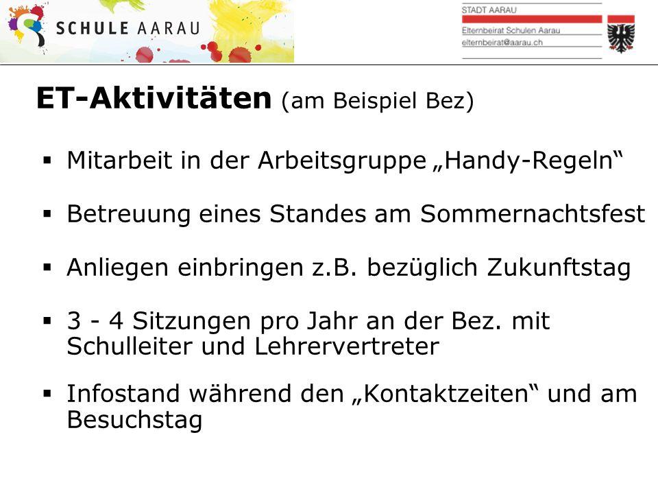 Informationen über EBR und ETs  www.schule-aarau.ch/schule- aarau/wer-wir-sind/elternbeirat/ www.schule-aarau.ch/schule- aarau/wer-wir-sind/elternbeirat/  Reglement und Funktionendiagramm  Traktandenlisten und Protokolle  Sitzungen sind öffentlich  Alle (auch Schüler) können Anliegen vorbringen (Traktandum Diverses)