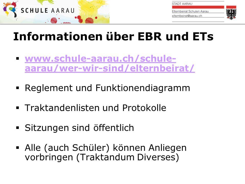 Informationen über EBR und ETs  www.schule-aarau.ch/schule- aarau/wer-wir-sind/elternbeirat/ www.schule-aarau.ch/schule- aarau/wer-wir-sind/elternbei