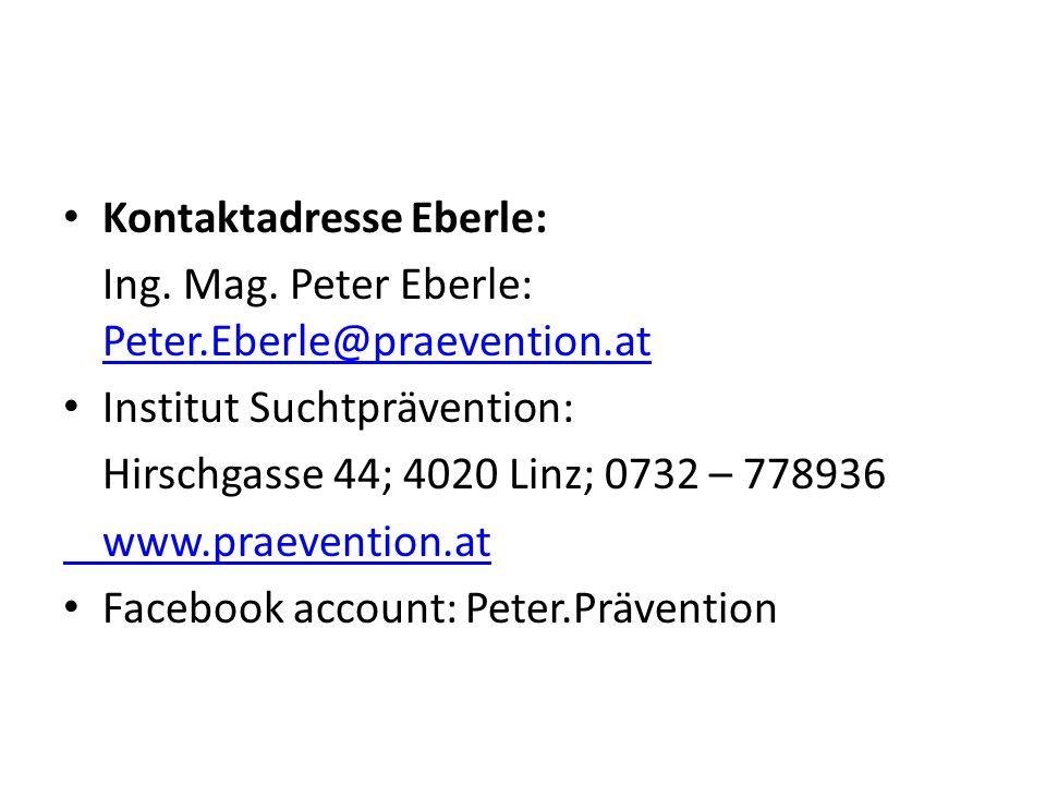 Kontaktadresse Eberle: Ing. Mag. Peter Eberle: Peter.Eberle@praevention.at Peter.Eberle@praevention.at Institut Suchtprävention: Hirschgasse 44; 4020
