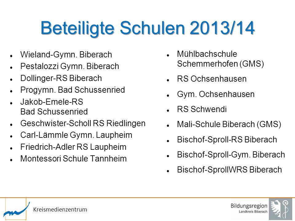 Kreismedienzentrum Beteiligte Schulen 2013/14 Wieland-Gymn. Biberach Pestalozzi Gymn. Biberach Dollinger-RS Biberach Progymn. Bad Schussenried Jakob-E