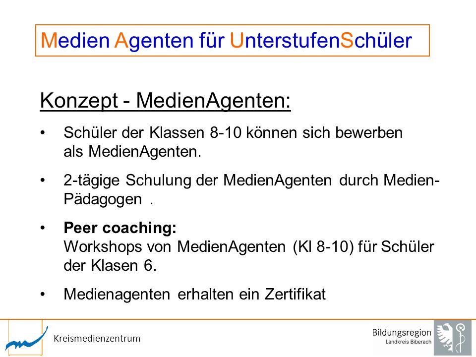 Kreismedienzentrum Konzept - MedienAgenten: Schüler der Klassen 8-10 können sich bewerben als MedienAgenten. 2-tägige Schulung der MedienAgenten durch
