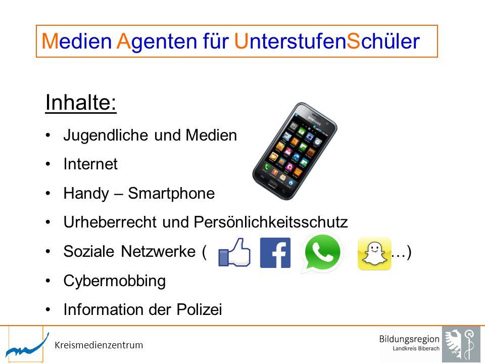 Kreismedienzentrum Inhalte: Jugendliche und Medien Internet Handy – Smartphone Urheberrecht und Persönlichkeitsschutz Soziale Netzwerke ( …) Cybermobb
