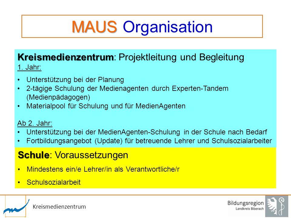 Kreismedienzentrum MAUS MAUS Organisation Schule Schule: Voraussetzungen Mindestens ein/e Lehrer/in als Verantwortliche/r Schulsozialarbeit Kreismedie