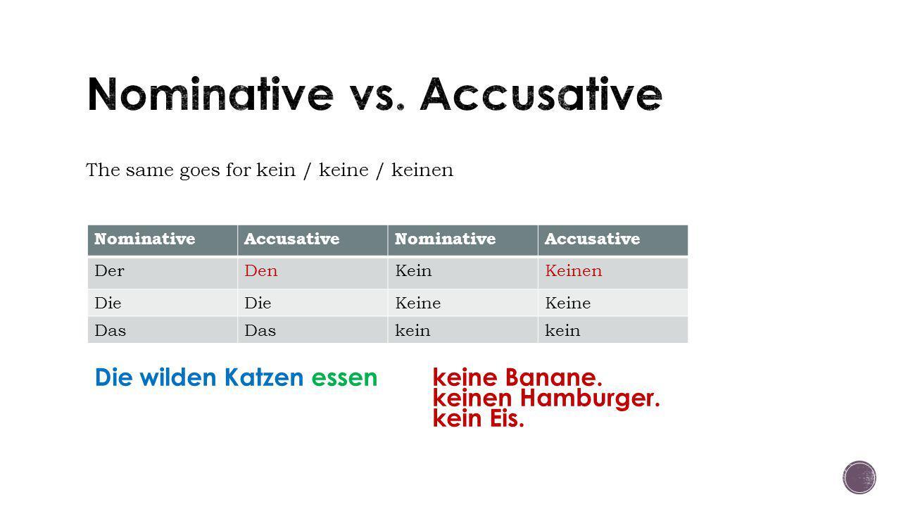 The same goes for kein / keine / keinen NominativeAccusativeNominativeAccusative DerDenKeinKeinen Die Keine Das kein