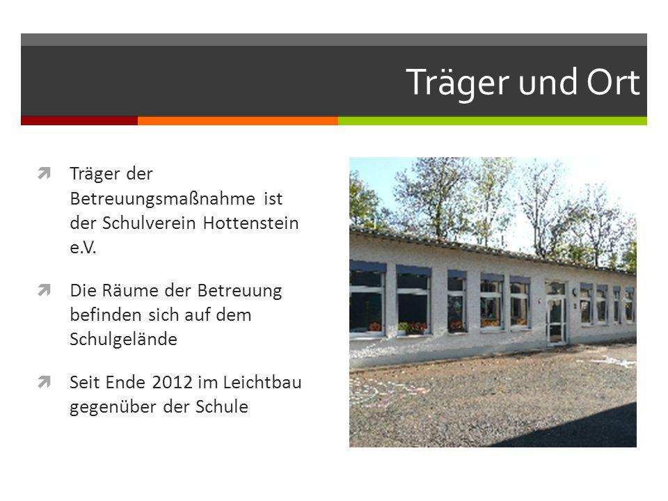 Träger und Ort  Träger der Betreuungsmaßnahme ist der Schulverein Hottenstein e.V.  Die Räume der Betreuung befinden sich auf dem Schulgelände  Sei