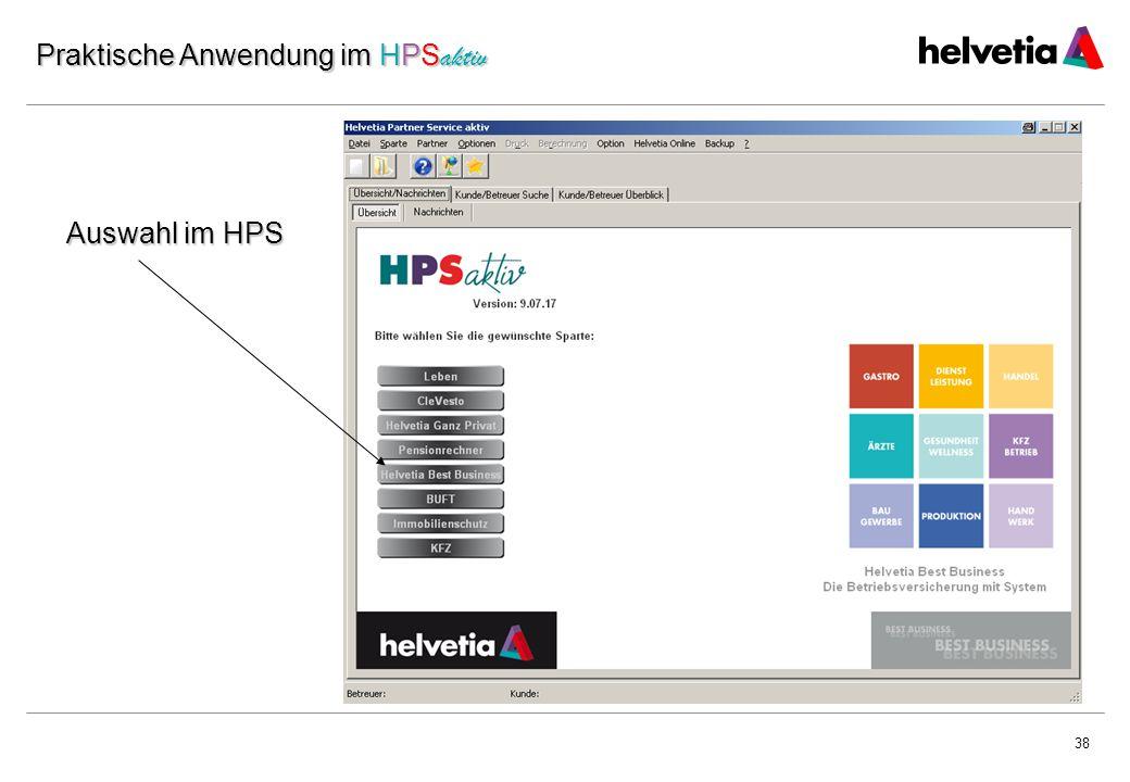 38 Auswahl im HPS Praktische Anwendung im HPS aktiv