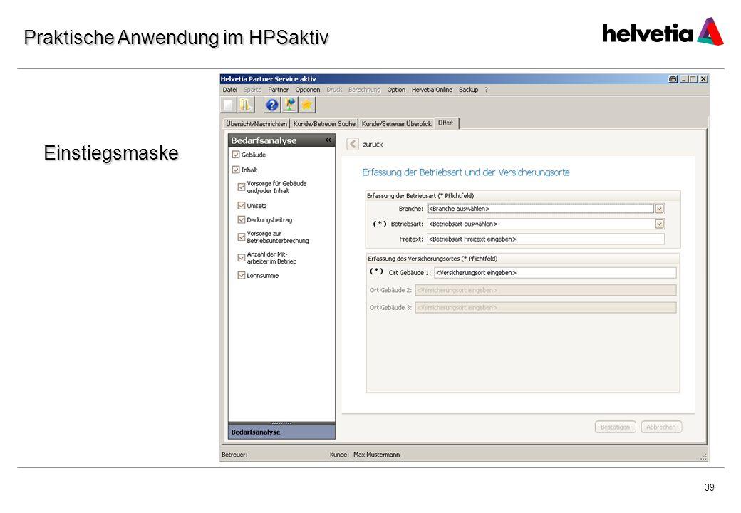 39 Praktische Anwendung im HPSaktiv Einstiegsmaske