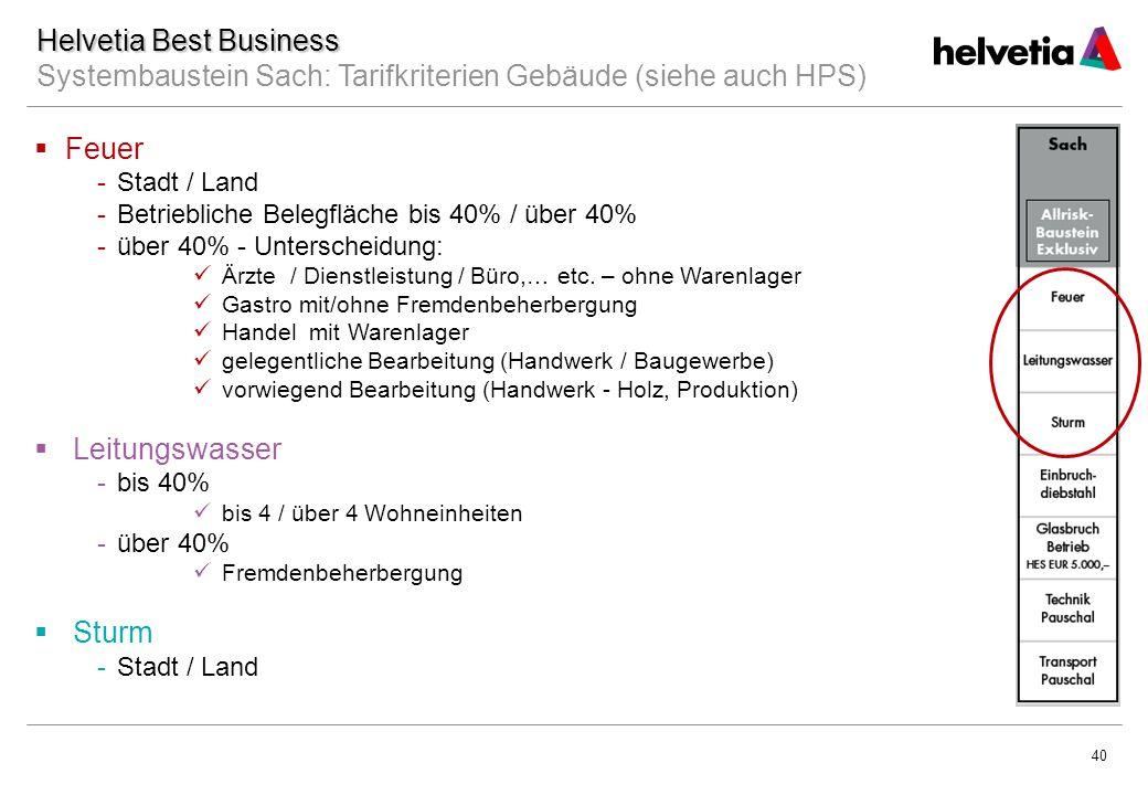 40 Helvetia Best Business Helvetia Best Business Systembaustein Sach: Tarifkriterien Gebäude (siehe auch HPS)  Feuer -Stadt / Land -Betriebliche Belegfläche bis 40% / über 40% -über 40% - Unterscheidung: Ärzte / Dienstleistung / Büro,… etc.