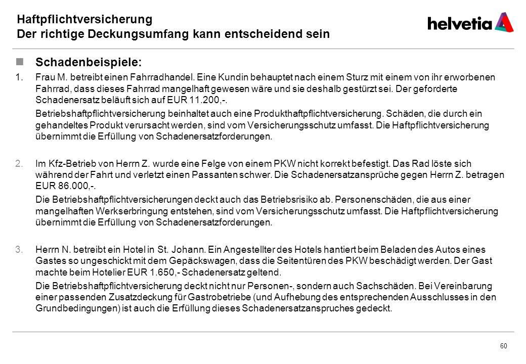 60 Haftpflichtversicherung Der richtige Deckungsumfang kann entscheidend sein Schadenbeispiele: 1.Frau M.