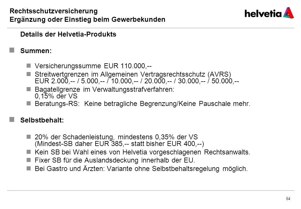 64 Rechtsschutzversicherung Ergänzung oder Einstieg beim Gewerbekunden Details der Helvetia-Produkts Summen: Versicherungssumme EUR 110.000,-- Streitwertgrenzen im Allgemeinen Vertragsrechtsschutz (AVRS) EUR 2.000,-- / 5.000,-- / 10.000,-- / 20.000,-- / 30.000,-- / 50.000,-- Bagatellgrenze im Verwaltungsstrafverfahren: 0,15% der VS Beratungs-RS: Keine betragliche Begrenzung/Keine Pauschale mehr.