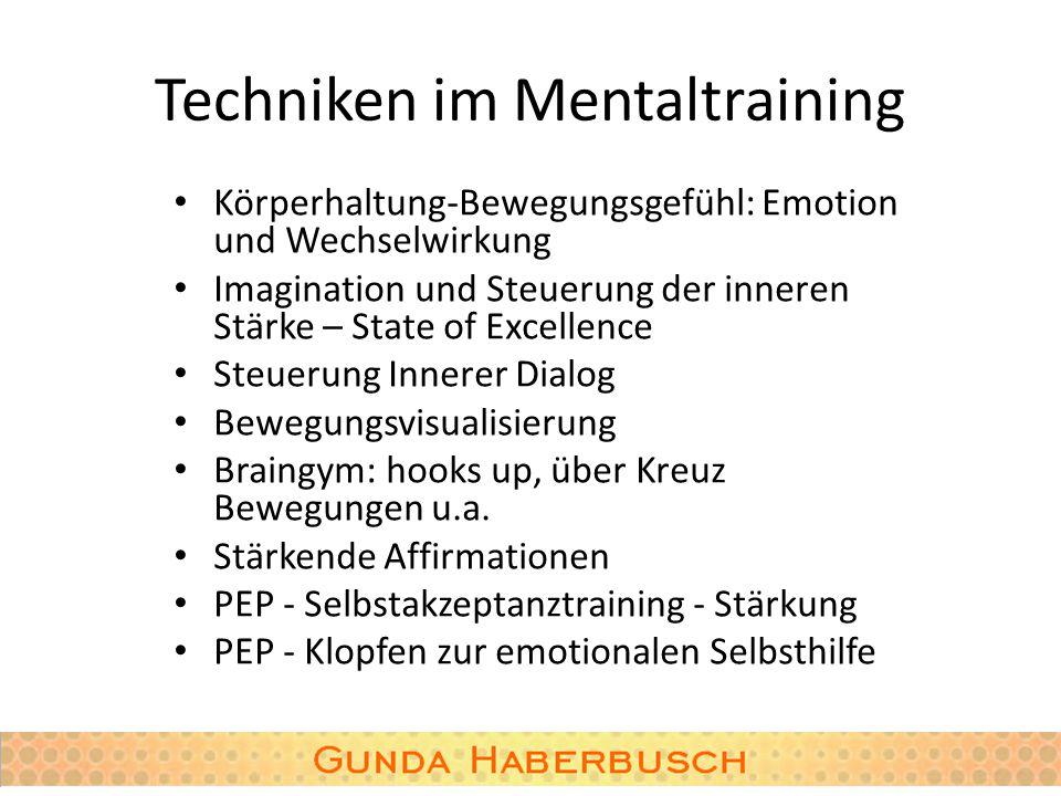 Techniken im Mentaltraining Körperhaltung-Bewegungsgefühl: Emotion und Wechselwirkung Imagination und Steuerung der inneren Stärke – State of Excellen