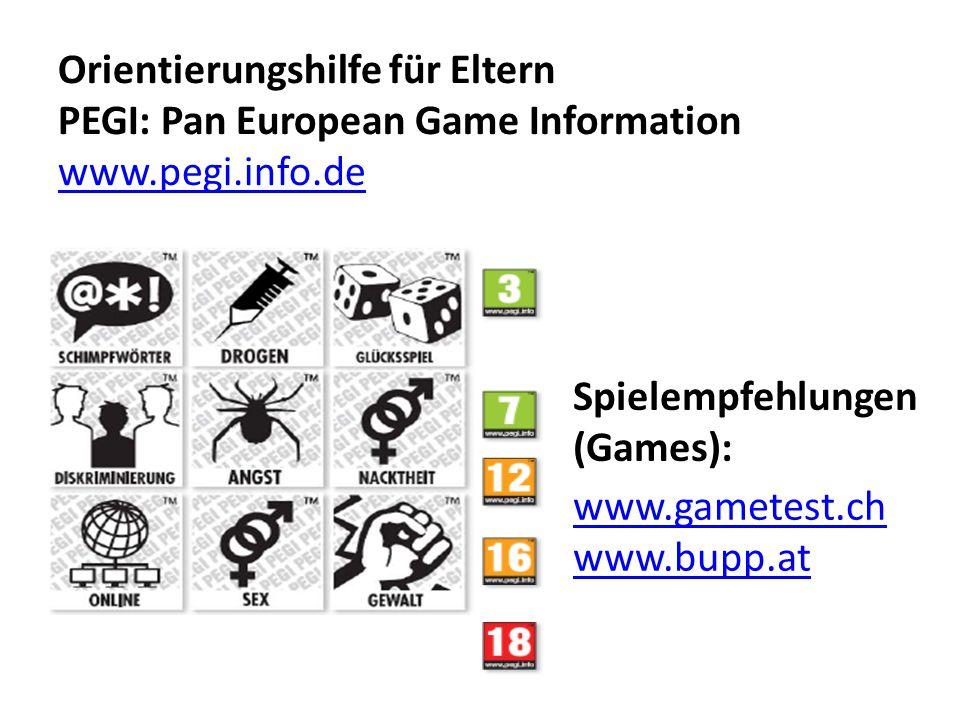 Orientierungshilfe für Eltern PEGI: Pan European Game Information www.pegi.info.de www.pegi.info.de www.gametest.ch www.bupp.at Spielempfehlungen (Games):