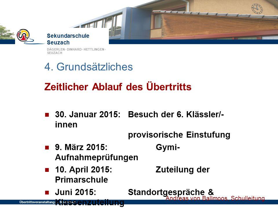 Sekundarschule Seuzach DÄGERLEN · DINHARD · HETTLINGEN · SEUZACH Übertrittsveranstaltung 24. November 2014 4. Grundsätzliches Zeitlicher Ablauf des Üb