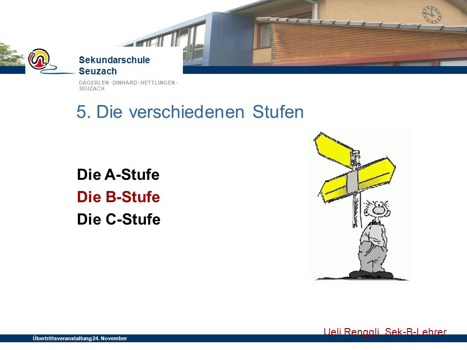 Sekundarschule Seuzach DÄGERLEN · DINHARD · HETTLINGEN · SEUZACH Übertrittsveranstaltung 24. November 2014 5. Die verschiedenen Stufen Die A-Stufe Die