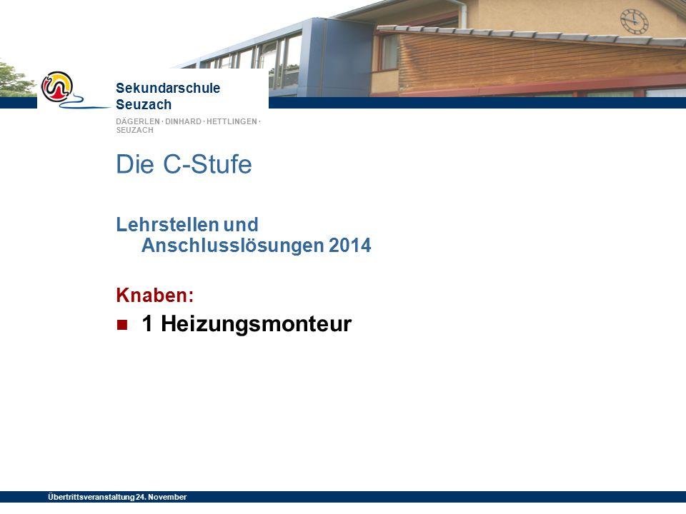 Sekundarschule Seuzach DÄGERLEN · DINHARD · HETTLINGEN · SEUZACH Übertrittsveranstaltung 24. November 2014 Die C-Stufe Lehrstellen und Anschlusslösung