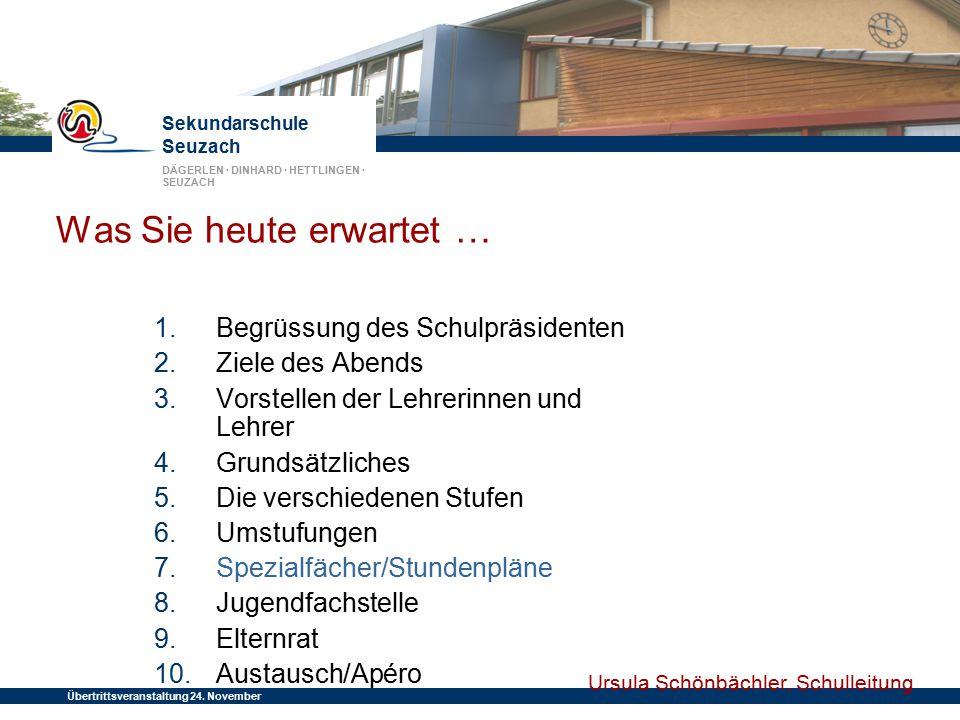 Sekundarschule Seuzach DÄGERLEN · DINHARD · HETTLINGEN · SEUZACH Übertrittsveranstaltung 24. November 2014 Was Sie heute erwartet … 1. Begrüssung des