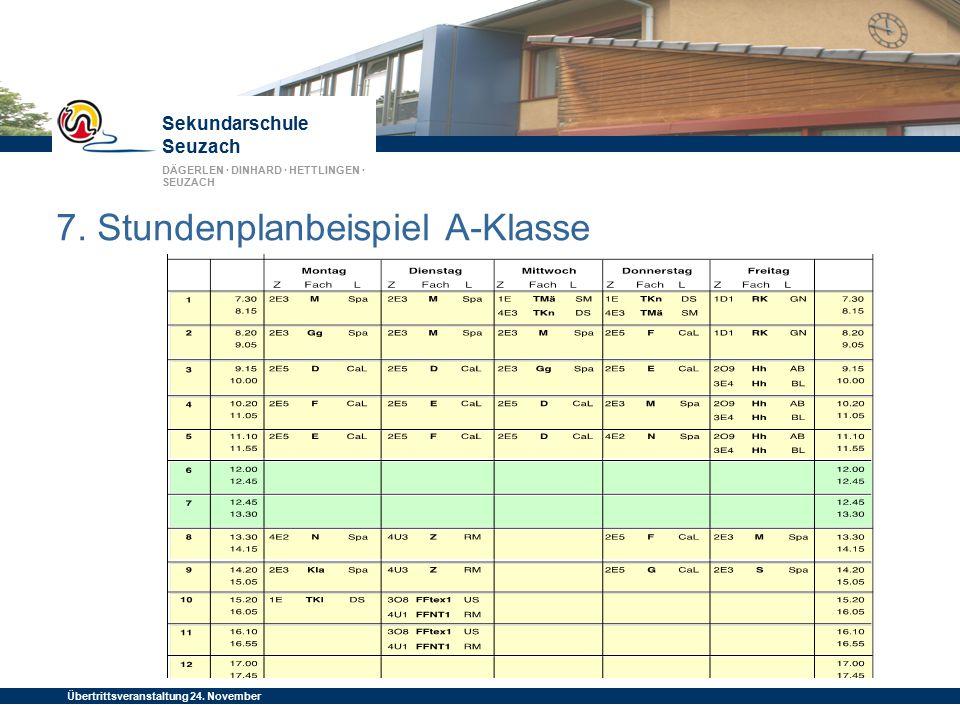 Sekundarschule Seuzach DÄGERLEN · DINHARD · HETTLINGEN · SEUZACH Übertrittsveranstaltung 24. November 2014 7. Stundenplanbeispiel A-Klasse