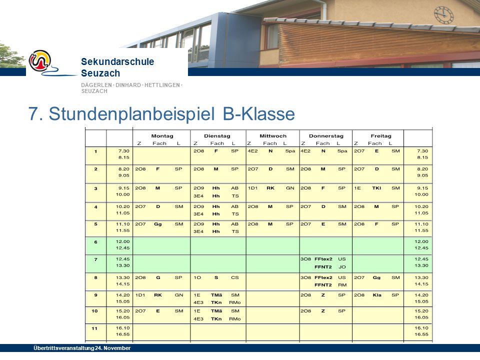 Sekundarschule Seuzach DÄGERLEN · DINHARD · HETTLINGEN · SEUZACH Übertrittsveranstaltung 24. November 2014 7. Stundenplanbeispiel B-Klasse