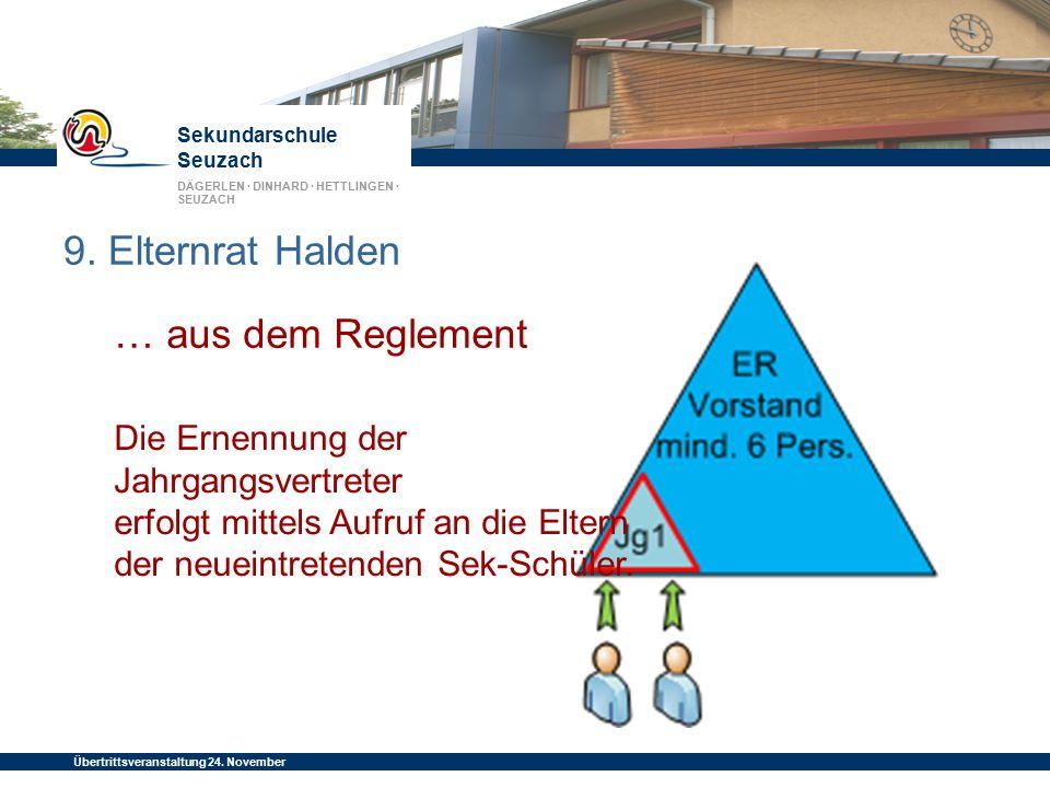 Sekundarschule Seuzach DÄGERLEN · DINHARD · HETTLINGEN · SEUZACH Übertrittsveranstaltung 24. November 2014 9. Elternrat Halden … aus dem Reglement Die